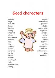 English Worksheet: Good characteristcs for story writing