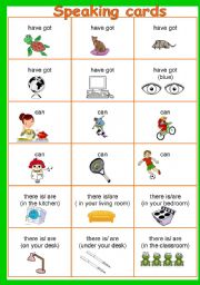 English Worksheet: SPEAKING CARDS (CAN YOU? HAVE YOU GOT? IS THERE?)