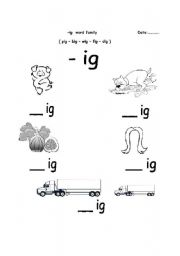 English worksheets: -ig word family