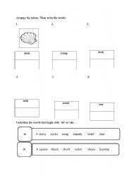 English Worksheets: initial diagraph �sh� and �st�