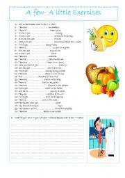 English Worksheet: A few - A little