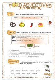English Worksheet: Food adjectives - taste and texture