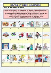 English Worksheet: HOUSEWORK VOCABULARY (MATCHING)
