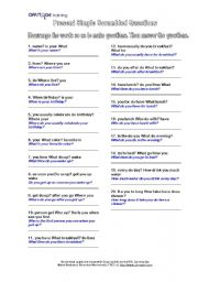 English Worksheets: Present and Past Scrambled Questions