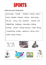 English worksheet: sports