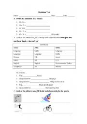 English worksheet: D class Revision Test