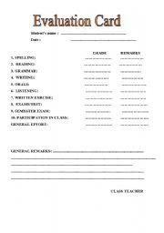 English Worksheets: evaluation card