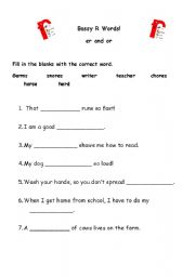 English worksheets: Bossy R Cloze Activity