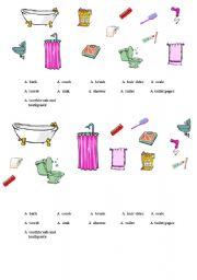 English worksheets: Bathroom objects