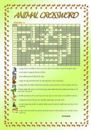 English worksheet: Animal Crossword