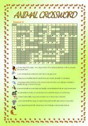 English worksheet: Animal Crossword 2