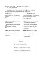 English Worksheet: in order to-so as to