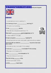 English Worksheets: REWRITING (with key)