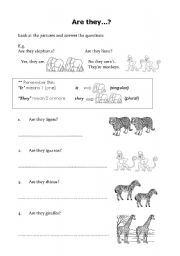 English Worksheets: Are they...?  Yes, they are/ No, they aren�t.