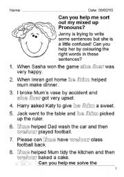 english worksheets pronouns worksheets page 96 - Printable Activities For 8 Year Olds