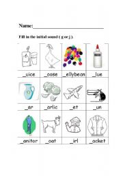 English Worksheets: Pres-School-English Worksheet-Initial Sound. G or ...