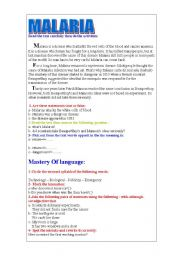 English Worksheets: Malaria: comprehension questions