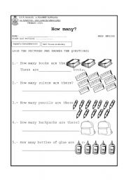 English Worksheet: How many?