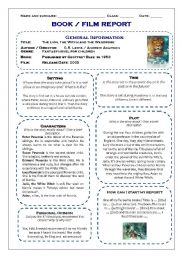 English Worksheet: Book and film report