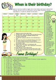 English Worksheets: When is their birthday?