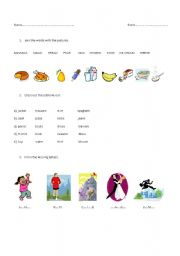 English Worksheets: Food and actions