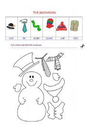 The snowman suitable for very young learners cut and paste