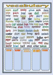 English Worksheet: VOCABULARY (toys-clothes-days/months-school objects-foods)