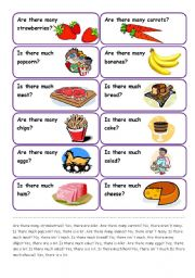 English Worksheet: SPEAKING CARDS - A LOT OF, MUCH, MANY