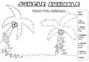 English Worksheet: JUNGLE ANIMALS -DRAWING/ DICTATION/READING ACTIVITY