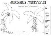 English Worksheets: JUNGLE ANIMALS -DRAWING/ DICTATION/READING ACTIVITY