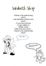 English worksheet: sandwich shop