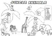 English Worksheet: JUNGLE ANIMALS, READ AND NUMBER