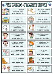 English Worksheet: WH words present tense, multiple choice (BW+key) for beginners