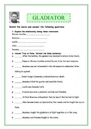 English Worksheets: Gladiator(4 pages full of exercises: comprehension activities, work on adjectives)