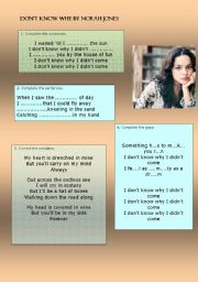 English Worksheets: �Don�t know why �by Norah Jones