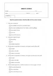 English Worksheets: Cells and Body Systems Bimonthly Exam
