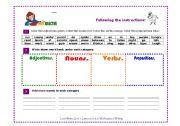 English Worksheets: VOCABULARY ADJECTIVE NOUN VERBS PRONOUN