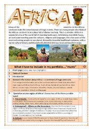 English Worksheet: Africa Webquest/Portfolio/Selfstudy Unit