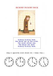 English Worksheet: Nursery Rhyme: Hickory Dickory Dock