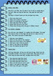 English Worksheets: SIMPLE READING COMPREHENSION