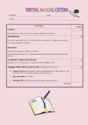 English Worksheets: Writing marking criteria
