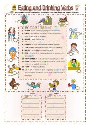 English Worksheets: EATING AND DRINKING VERBS