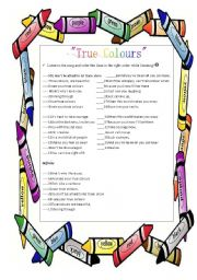 English Worksheet: True Colours by Phil Collins Part 1 asnwer key