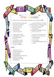 English Worksheet: True Colours by Phil Collins Part 2