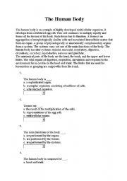 English worksheet: body parts reading