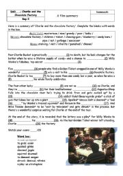 English Worksheet: Charlie and the chocolate factory - summary - worksheet