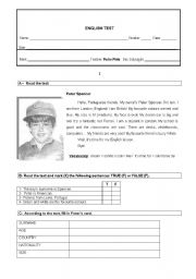 English Worksheet: 5th grade ENGLISH TEST