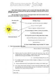 English Worksheets: Summer jobs /analsying advertisements