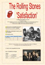 English Worksheets: �SATISFACTION� THE ROLLING STONES