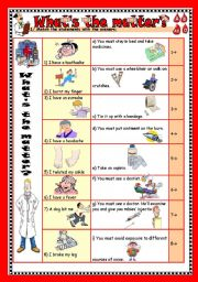 English Worksheet: what´s the matter (p1/2) (2pages)